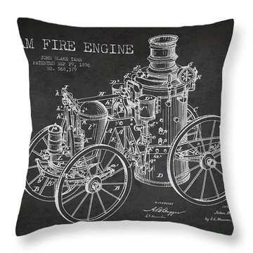 Tarr Steam Fire Engine Patent Drawing From 1896 - Dark Throw Pillow