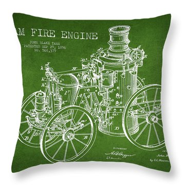 Tarr Steam Fire Engine Patent Drawing From 1896 - Green Throw Pillow