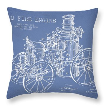 Tarr Steam Fire Engine Patent Drawing From 1896 - Light Blue Throw Pillow