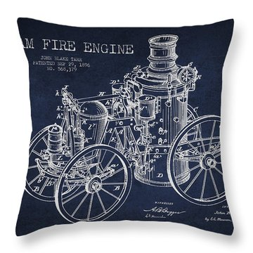 Tarr Steam Fire Engine Patent Drawing From 1896 - Navy Blue Throw Pillow