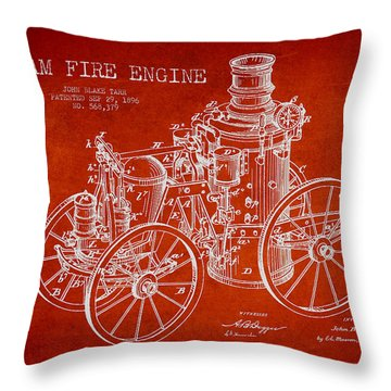Tarr Steam Fire Engine Patent Drawing From 1896 - Red Throw Pillow