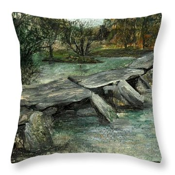 Tarr Steps Throw Pillow by Carol Rowland