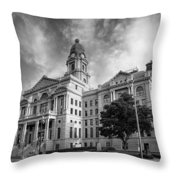 Tarrant County Courthouse Bw Throw Pillow