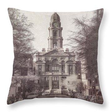 Tarrant County Courthouse Throw Pillow by Joan Carroll