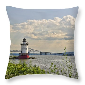 Tarrytown Lighthouse And Tappan Zee Bridge Sleepy Hollow Ny Throw Pillow