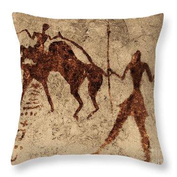 Tassili Najjer Rock Painting Algeria Throw Pillow by George Holton