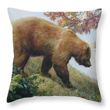 Tasty Raspberries For Our Bear Throw Pillow