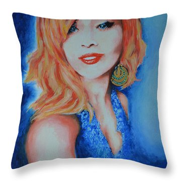 Tatiana With Pearls And Green Earring Throw Pillow by Victor Minca