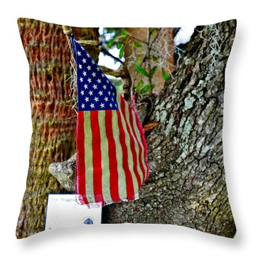Tattered America Throw Pillow