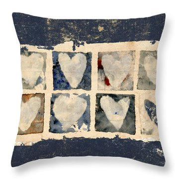 Tattered Hearts Throw Pillow by Carol Leigh