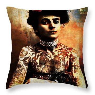 Tattoo Lady Throw Pillow