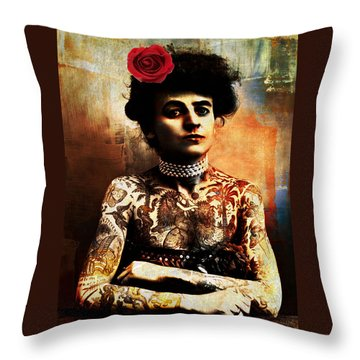 Tattoo Lady Throw Pillow