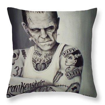 Tattooed Frankenstein By Mike Vanderhoof Throw Pillow