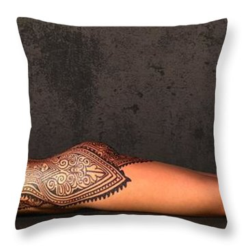 Tattooed Nude 2 Throw Pillow