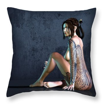 Tattooed Nude 3 Throw Pillow