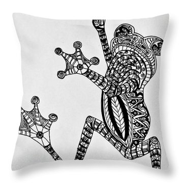 Throw Pillow featuring the drawing Tattooed Tree Frog - Zentangle by Jani Freimann