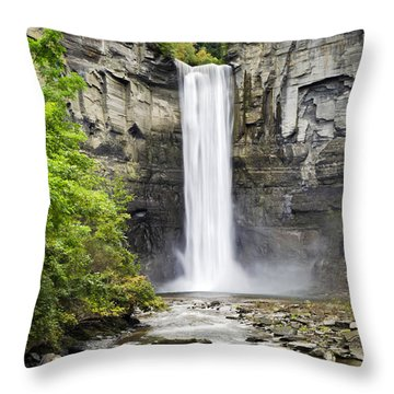 Taughannock Falls And Creek Throw Pillow by Christina Rollo