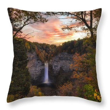 Taughannock Falls Autumn Sunset Throw Pillow