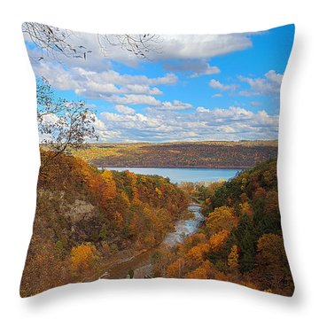 Throw Pillow featuring the painting Taughannock River Canyon In Colorful Fall Ithaca New York Iv by Paul Ge