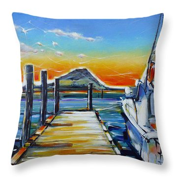 Throw Pillow featuring the painting Tauranga Marina 180412 by Selena Boron