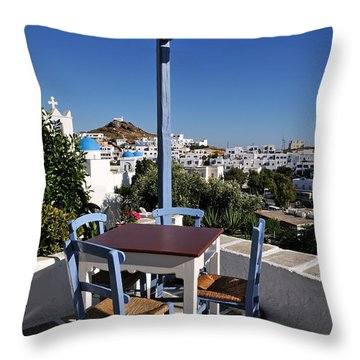 Tavern In Ios Town Throw Pillow