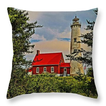 Tawas Point Light Retro Mode Throw Pillow