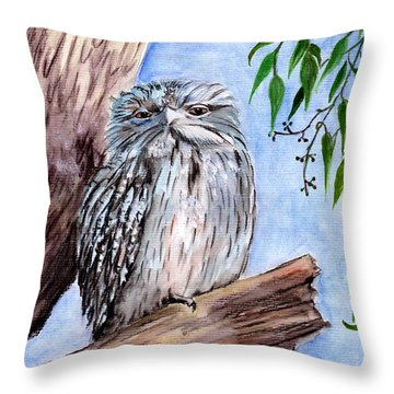 Tawny Frogmouth Throw Pillow