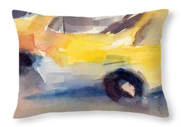 Taxi Cabs Nyc Watercolor Painting Throw Pillow by Beverly Brown