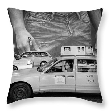 Taxis On Fifth Avenue Throw Pillow