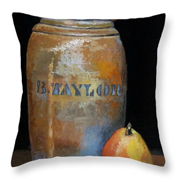 Taylor Jug With Pear Throw Pillow by Catherine Twomey