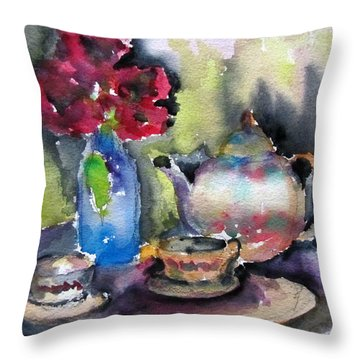 Tea And Flowers Throw Pillow