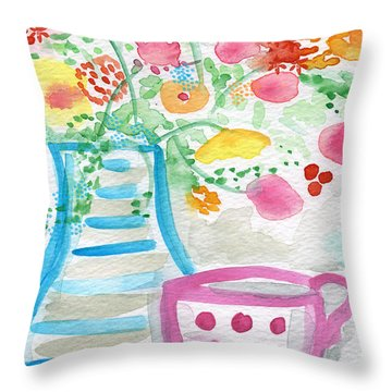 Tea And Fresh Flowers- Whimsical Floral Painting Throw Pillow