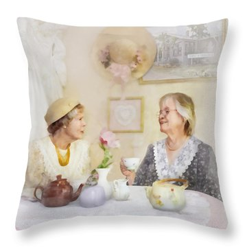 Tea And Talk Throw Pillow