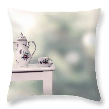 Tea Cup And Pot Throw Pillow by Joana Kruse