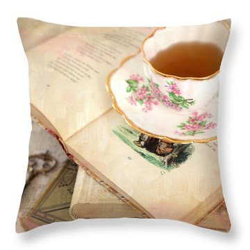 Tea Cup And Vintage Books Throw Pillow