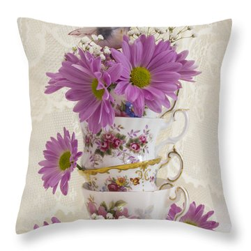 Tea Cups And Daisies  Throw Pillow by Sandra Foster