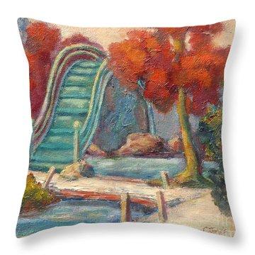 Tea Garden Bridge Throw Pillow