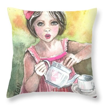 Tea Granny Throw Pillow by Kim Sutherland Whitton