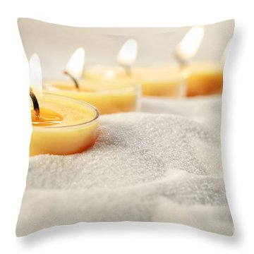 Throw Pillow featuring the photograph Tea Light Candles In Sand by Sandra Cunningham