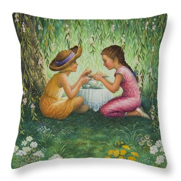 Tea Party Throw Pillow by Lynn Bywaters