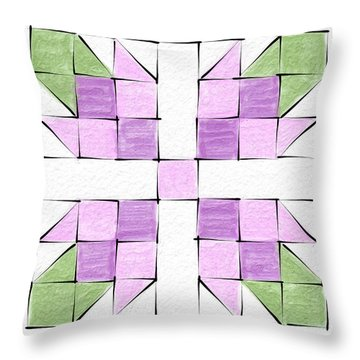 Tea Rose Quilt Block Throw Pillow