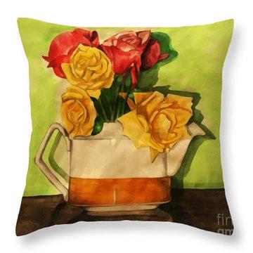 Tea Roses Bordered Throw Pillow