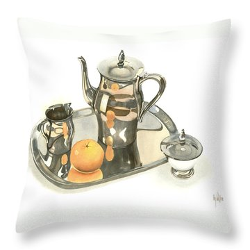 Tea Service With Orange Dramatic Throw Pillow by Kip DeVore
