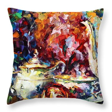 Tea Time 2 Throw Pillow by Leonid Afremov