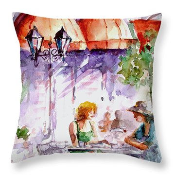 Throw Pillow featuring the painting Tea Time...  by Faruk Koksal
