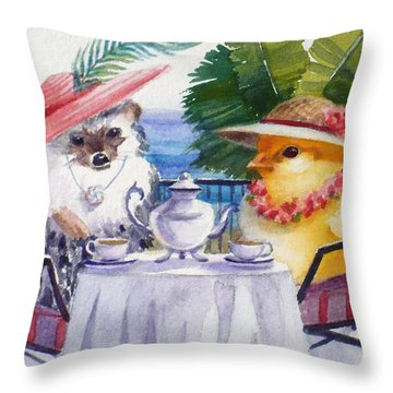 Tea Time For A Baby Chick And Hedgehog Throw Pillow