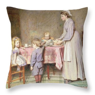 Tea Time Throw Pillow by George Goodwin Kilburne