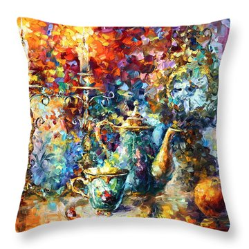 Tea Time Throw Pillow by Leonid Afremov