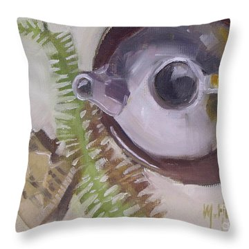 Tea Time Teapot For Afternoon Tea Parties Throw Pillow by Mary Hubley