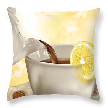 Tea Time Throw Pillow by Veronica Minozzi